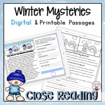 WINTER SNOW FAMILY CLOSE READING COMPREHENSION PRACTICE MY