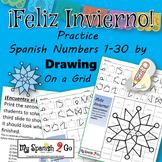 WINTER SNOWFLAKE Practice SPANISH NUMBERS 1-30 Draw on Grid