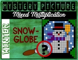 WINTER SNOWGLOBE Mixed Multiplication Color by Number Myst