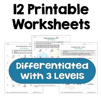 Winter Math: Decimal Worksheet Bundle (Differentiated)