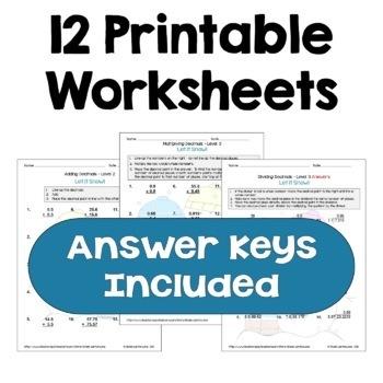 Winter Math Decimal Worksheet Bundle (Differentiated)