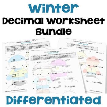 Winter Math: Decimal Worksheet Bundle (3 Levels)