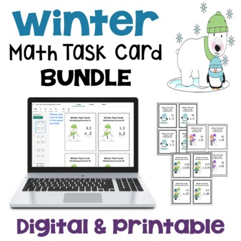 Winter Math Task Card Bundle (Differentiated with 3 Levels) - 108 Task Cards