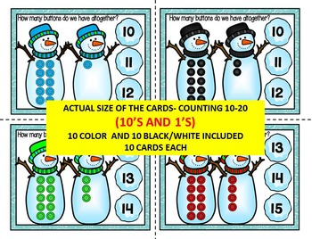 WINTER- SNOWMEN, Count & Pin Math Center Game- Color + Black and white