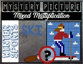 OLYMPICS WINTER SPORTS SKI Mixed Multiplication Color by N