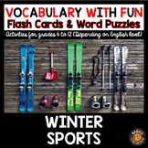 Winter Sports 5 Word Puzzles and 30 Photo Flash Cards BUNDLE
