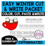 WINTER Simple Color, Cut & Paste Crafts with DIFFERENTIATED writing prek SPED OT