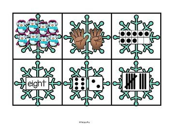 WINTER Snowflakes Counting to 10 - Seven Ways to Show Numbers