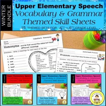 WINTER Speech Therapy Upper Elem Bundle Themed Vocabulary & Grammar Worksheets