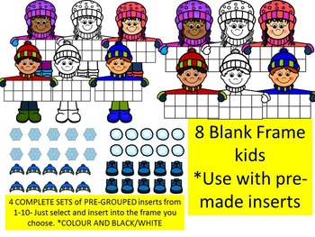 WINTER TEN FRAME KIDS CLIP ART BUNDLE