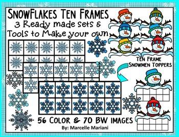 WINTER TEN FRAMES- SNOWFLAKES TEN FRAMES- COMMERICAL USE