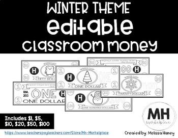 WINTER THEME - Classroom Money - EDITABLE