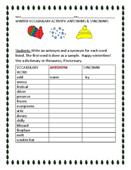 WINTER TIME VOCABULARY ACTIVITY: ANTONYMS &  SYNONYMS