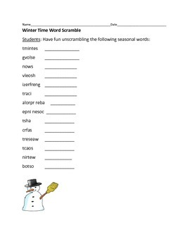 WINTER TIME WORD SCRAMBLE