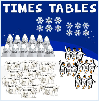 WINTER TIMES TABLES DISPLAY TEACHING RESOURCES MATHS NUMERACY KS1-KS2