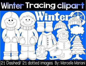 WINTER TRACING CLIP ART- WINTER CLIP ART GRAPHICS