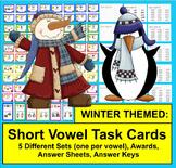 WINTER Task Cards - Short Vowels - 70 Cards Grouped by Vowel Sound - 5 Sets