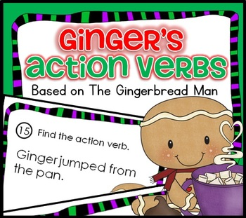 SCOOT WINTER Theme Ginger's Action Verb Task card Game CC, centers