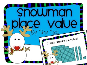 SCOOT WINTER Theme Snowman Place Value Game task cards CC,centers