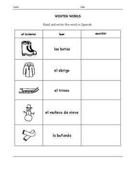 SPANISH - WINTER VOCABULARY WORDS