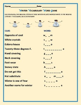 WINTER  VOCABULARY WORD GAME