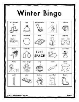 WINTER Vocabulary BINGO Make & Take, SPEECH THERAPY