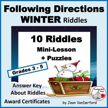 FOLLOW DIRECTIONS  WINTER Riddles  VOCABULARY  Language Skills  Gr  4-5