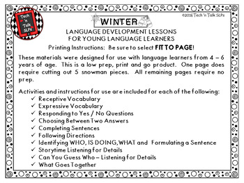 WINTER WONDERLAND Language Development Lessons for Young Language Learners