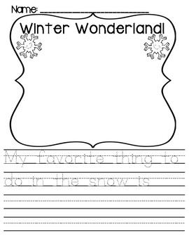 WINTER/SNOW DAY Writing {Kindergarten}