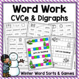 Winter Word Work! Sorts & Games for Long Vowels (CVCe) & Digraphs