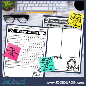 WINTER WRITING PROJECT {aligned with Common Core K-4} bulletin board / portfolio