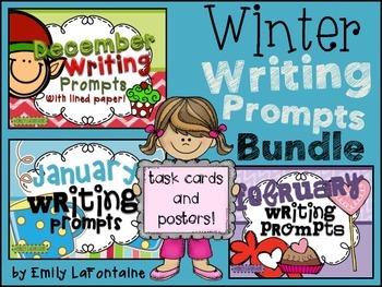 WINTER Writing Prompts Bundle (90 count) - task cards, posters, and lined paper
