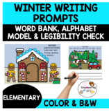 WINTER Writing prompts with pictures, word bank, alphabet model