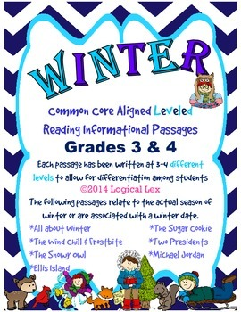 WINTER common core aligned LEVELED reading informational passages