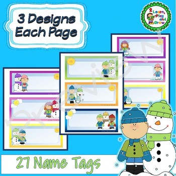 Editable Winter Cubby Or Desk Name Tags 27 Designs Snowman Skaters Kids