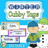 Editable Winter Cubby or Desk Name Tags - 27 Designs - Snowman - Skaters - Kids
