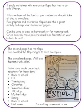 WINTER {{quick topics}} one interactive worksheet