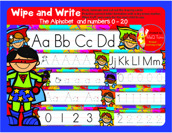 WIPE AND WRITE  Alphabet and Numbers Superhero Theme