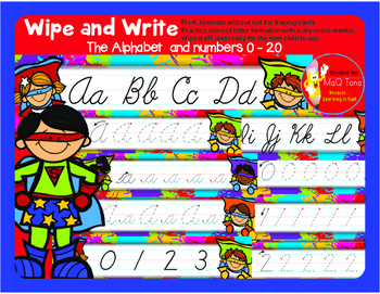 WIPE AND WRITE  CURSIVE Alphabet and Numbers Superhero Theme