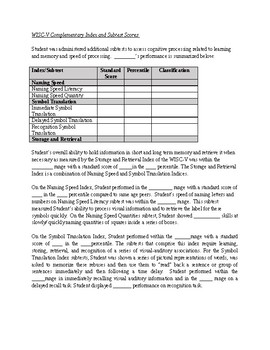 WISC-V Complementary Index and Subtest Score Template