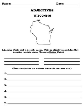 WISCONSIN Adjectives Worksheet with Word Search