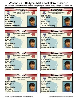 WISCONSIN - Badger's Math Driver's License-Math Fact Incentive Program TEMP-FREE