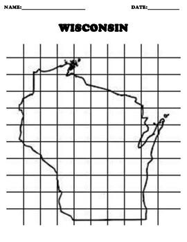 WISCONSIN Coordinate Grid Map Blank