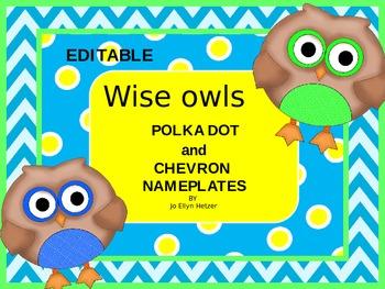 WISE OWL - POLKA DOT & CHEVRON EDITABLE NAMEPLATES
