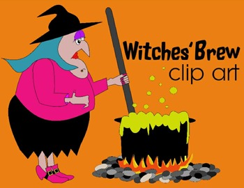 WITCH CLIP ART * COLOR AND BLACK AND WHITE