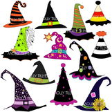 WITCH HAT CLIP ART * COLOR and BLACK/WHITE