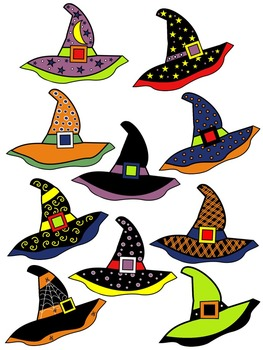WITCH HAT CLIPART * COLOR AND BLACK AND WHITE