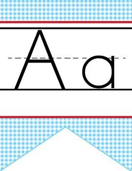 DOROTHY & OZ - Alphabet Banner, handwriting, A to Z, ABC print font / blue
