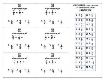 WIZARDSVILLE MATH - Adding Fractions w/Unlike Denominators