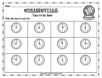 WIZARDSVILLE MATH - Time to the Hour